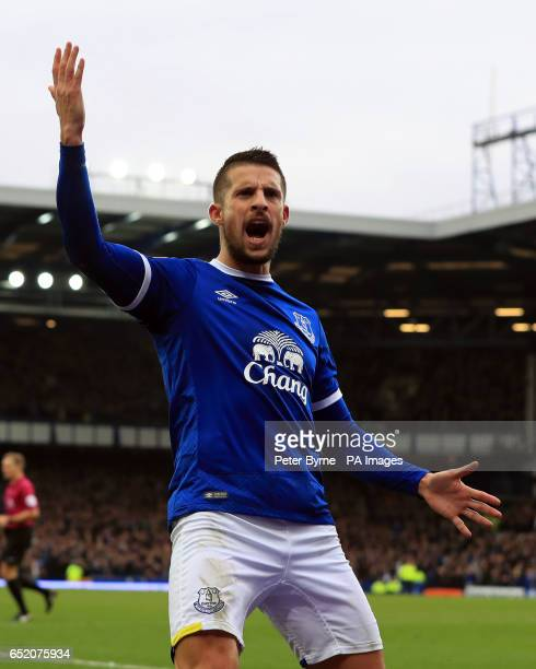 Everton's Kevin Mirallas celebrates scoring his sides opening goal during the Premier League match at Goodison Park Liverpool
