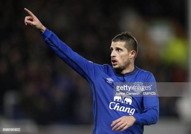 Everton's Kevin Mirallas celebrates scoring his sides third goal of the game