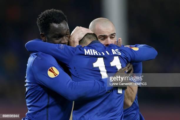 Everton's Kevin Mirallas celebrates scoring his side's third goal of the game with Romelu Lukaku