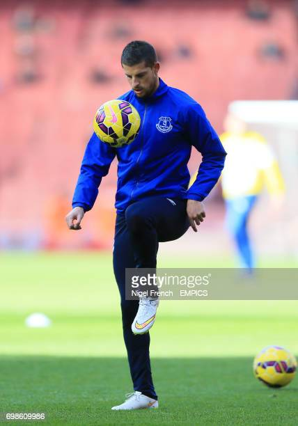 Everton's Kevin Mirallas during the warm up
