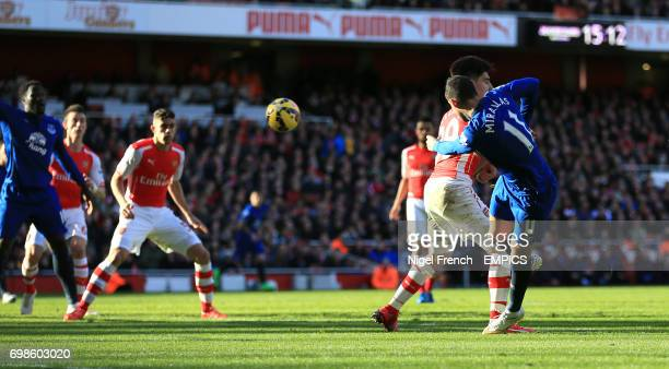 Everton's Kevin Mirallas has a shot on goal against Arsenal