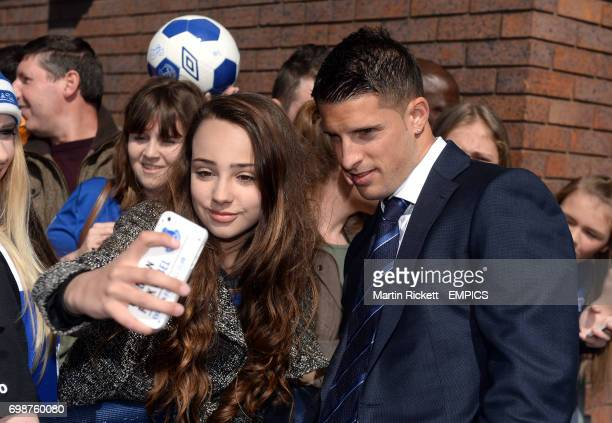 Everton's Kevin Mirallas poses for a photograph in the players parade