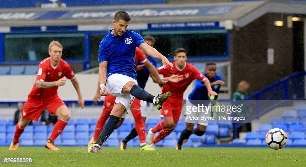 Everton's Kevin Mirallas scores from the penalty spotduring the preseason friendly at Goodison Park Liverpool