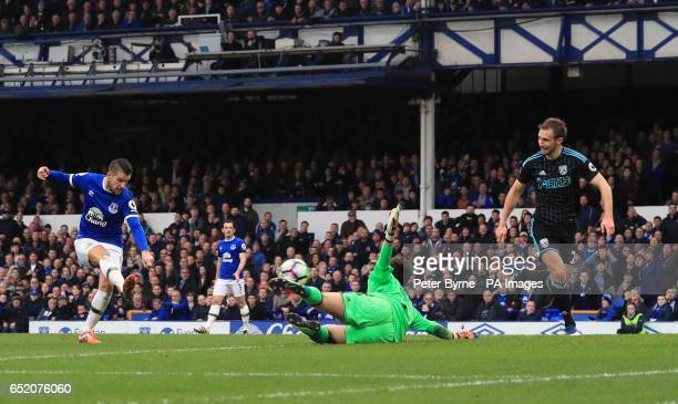 Everton's Kevin Mirallas scores his side's first goal dduring the Premier League match at Goodison Park Liverpool