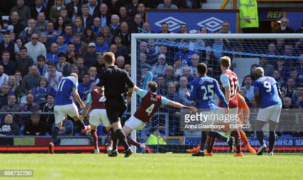 Everton's Kevin Mirallas scores his side's first goal