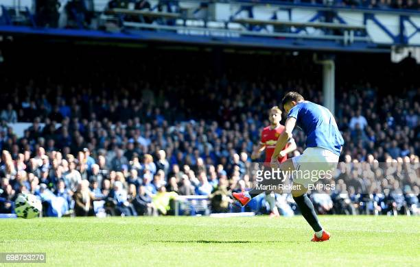 Everton's Kevin Mirallas scores his sides third goal of the match