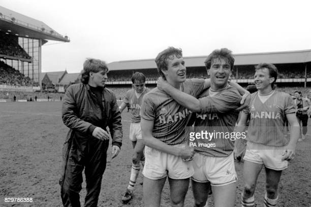 Everton's Kevin Richardson Pat van den Hauwe Kevin Sheedy Kevin Ratcliffe and Trevor Steven celebrate winning the League Championship