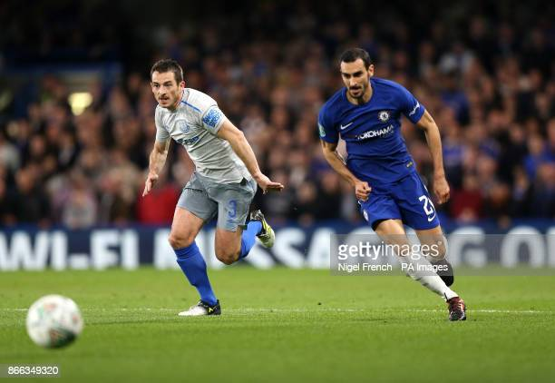 Everton's Leighton Baines and Chelsea's Davide Zappacosta battle for the ball during the Carabao Cup Fourth Round match at Stamford Bridge London