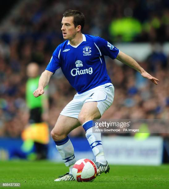 Everton's Leighton Baines in action during the Barclays Premier League match at Goodison Park Liverpool