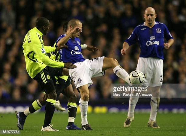 Everton's Leon Osman and Chelsea's Claude Makelele battle for the ball