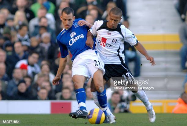 Everton's Leon Osman and Fulham's Wayne Routledge