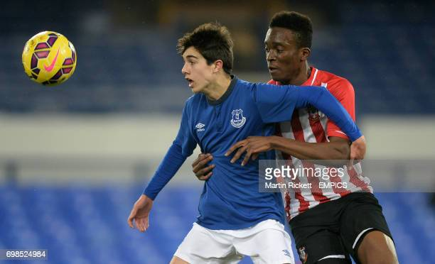 Everton's Liam Walsh battles for the ball with Southampton's Joshua Debayo