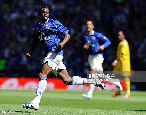Everton's Louis Saha celebrates after scoring the opening goal against Chelsea in the FA Cup final at Wembley in north Londonon May 30 2009 AFP...