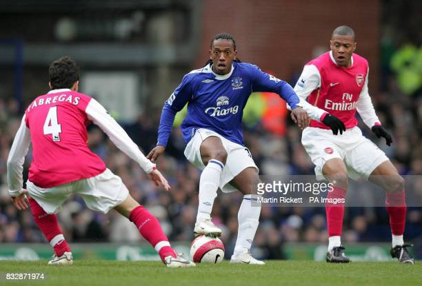 Everton's Manuel Fernandes watched by Arsenal's Cese Fabregas and Julio Baptista during the FA Barclays Premiership match at Goodison Park Liverpool