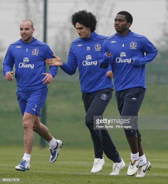 Everton's Marouane Fellaini during a training session at Finch Farm Training Complex Halewood ahead of their FA Cup Semi Final match against...