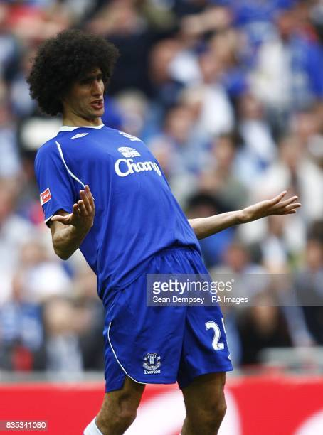 Everton's Marouane Fellaini reacts during the game