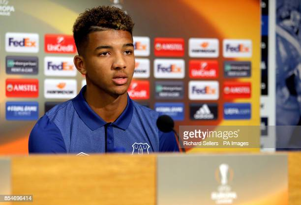 Everton's Mason Holgate during the press conference at Finch Farm Liverpool