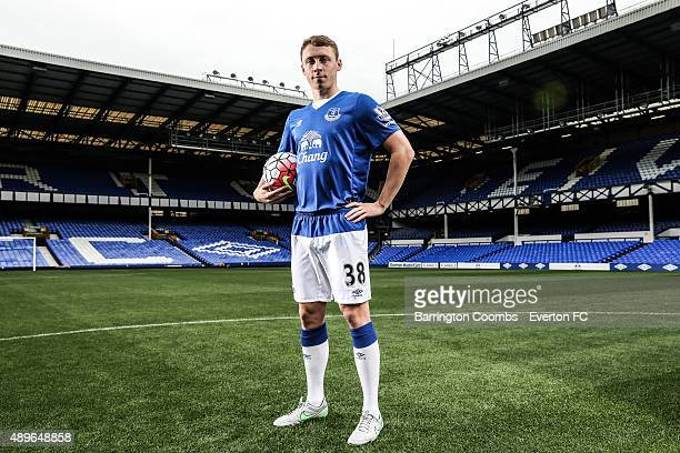 Everton's Matthew Pennington during the Everton photocall at Goodison Park on September 14 2015 in Liverpool England