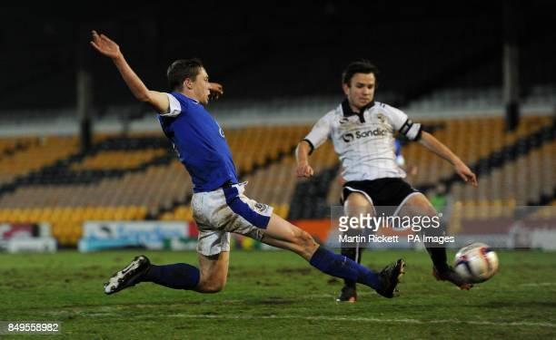 Everton's Matthew Pennington scores his teams 2md goal during the FA Youth cup match at Vale Park Stoke on Trent PRESS ASSOCIATION Photo Picture date...