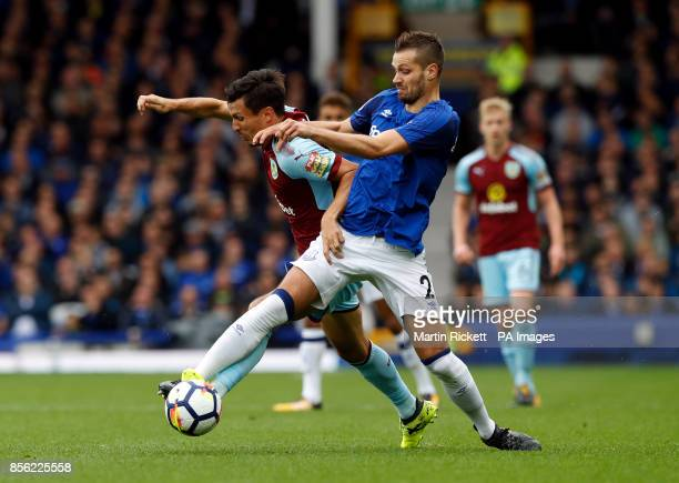Everton's Morgan Schneiderlin and Burnley's Jack Cork battle for the ball during the Premier League match at Goodison Park Liverpool
