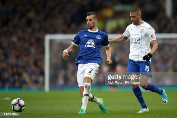 Everton's Morgan Schneiderlin and Leicester City's Islam Slimani battle for the ball during the Premier League match at Goodison Park Liverpool