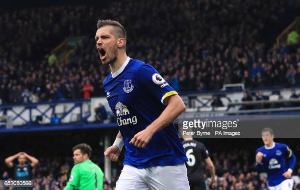 Everton's Morgan Schneiderlin celebrates scoring his side's second goal of the game during the Premier League match at Goodison Park Liverpool