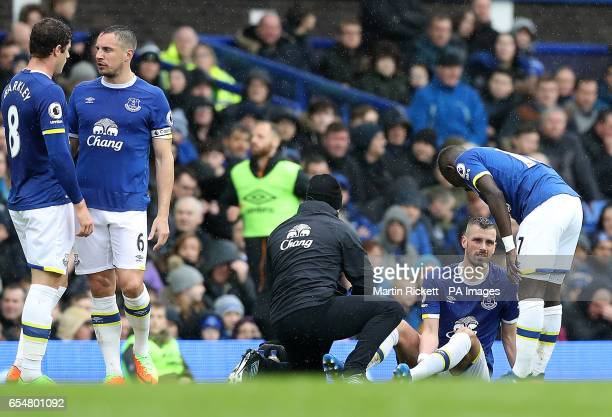 Everton's Morgan Schneiderlin on the ground after picking up an injury during the Premier League match at Goodison Park Liverpool