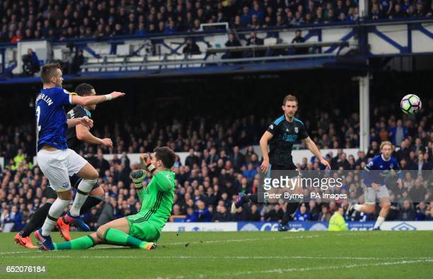 Everton's Morgan Schneiderlin scores his side's second goal of the game during the Premier League match at Goodison Park Liverpool