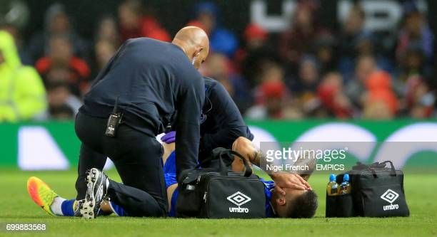 Everton's Muhamed Besic receives treatment for a injury