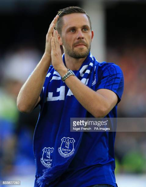 Everton's new signing Gylfi Sigurdsson is paraded before the UEFA Europa League PlayOff First Leg match at Goodison Park Liverpool