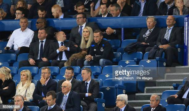 Everton's new signing Gylfi Sigurdsson watches the match during the UEFA Europa League PlayOff First Leg match at Goodison Park Liverpool