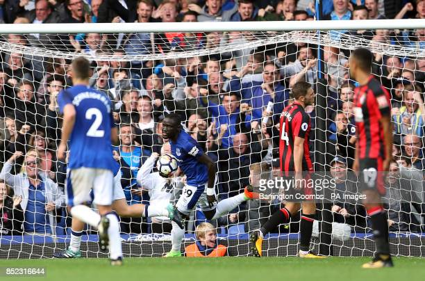 Everton's Oumar Niasse celebrates scoring his side's first goal of the game during the Premier League match at Goodison Park Liverpool