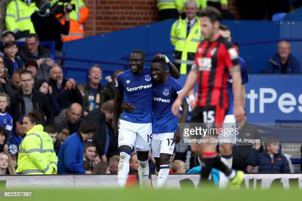 Everton's Oumar Niasse celebrates scoring his side's second goal of the game with Idrissa Gueye during the Premier League match at Goodison Park...