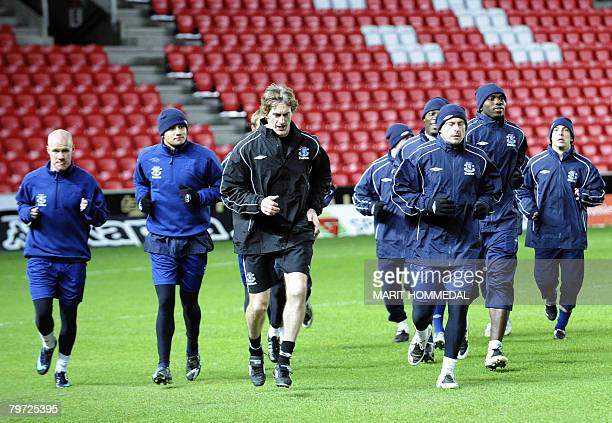 Everton's palyers train at Brann Stadium in Bergen on February 12 on the eve of Uefa cup match against SK Brann Bergen AFP PHOTO/Marit...