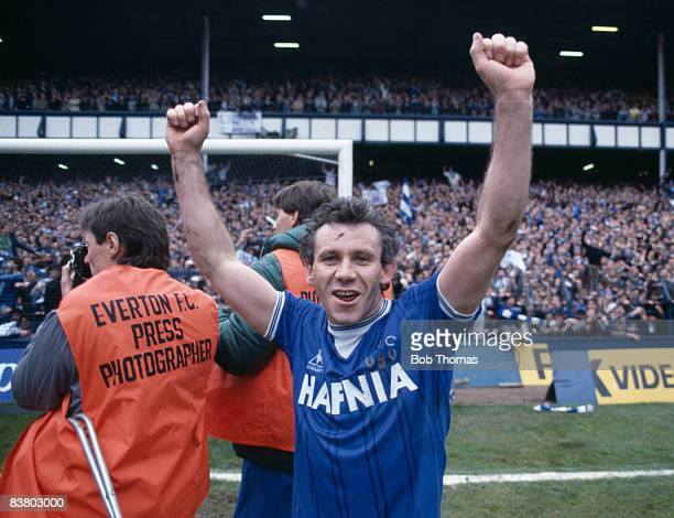 Everton's Peter Reid celebrates after their 20 victory over Queens Park Rangers at Goodison Park had clinched the First Division League Championship...