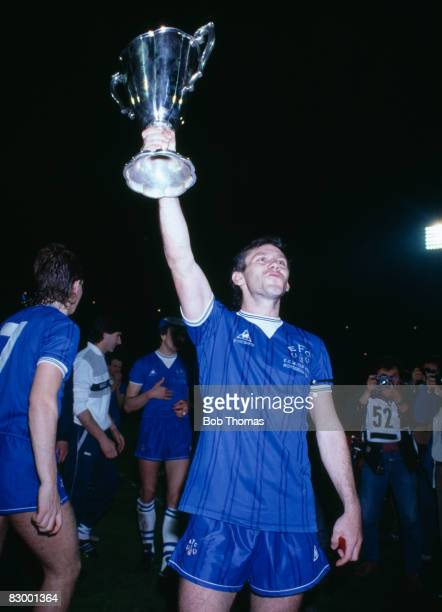 Everton's Peter Reid holding the trophy after their UEFA European Cup Winners Cup Final victory over Rapid Vienna in Rotterdam May 15th 1985 Everton...