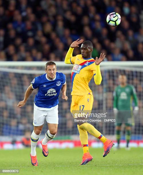 Everton's Phil Jagielka and Crystal Palace's Christian Benteke battle for the ball