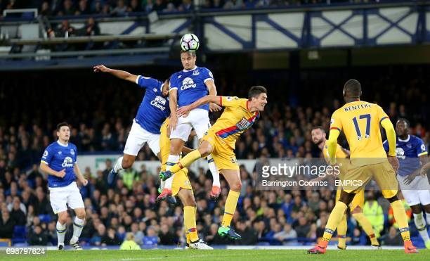 Everton's Phil Jagielka and Crystal Palace's Martin Kelly battle for the ball in the air