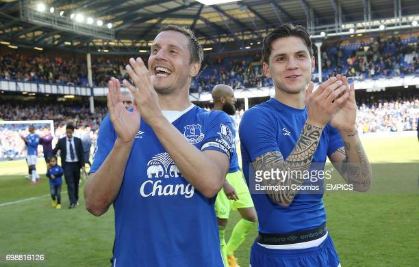 Everton's Phil Jagielka and Muhamed Besic at the end of the game against Tottenham Hotspur