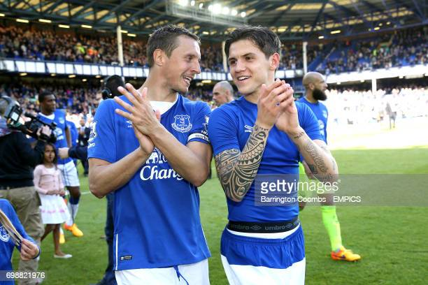 Everton's Phil Jagielka and Muhamed Besic during the lap of appreciation
