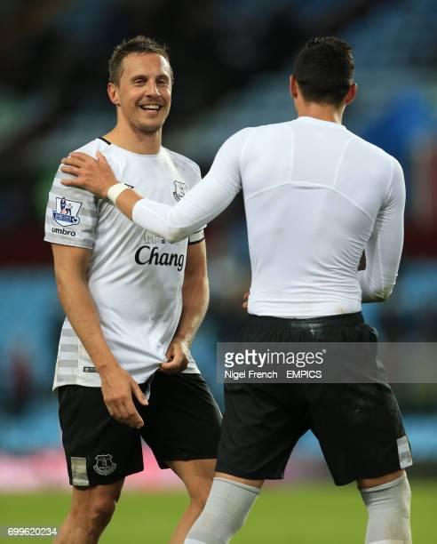 Everton's Phil Jagielka celebrates with Ramiro Funes Mori after the game against Aston Villa