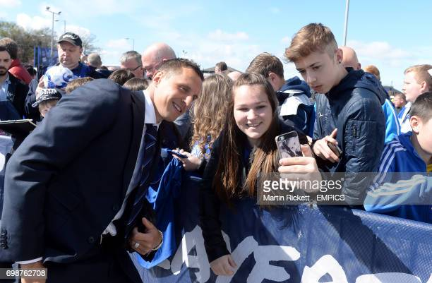 Everton's Phil Jagielka poses for a photograph in the players parade