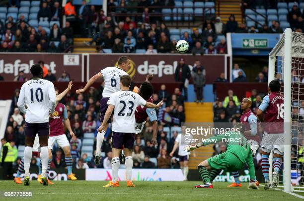 Everton's Phil Jagielka scores his sides second goal of the game