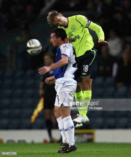 Everton's Phil Neville battles with Blackburn's Robbie Fowler during the Carling Cup Third Round match at Ewood Park Blackburn