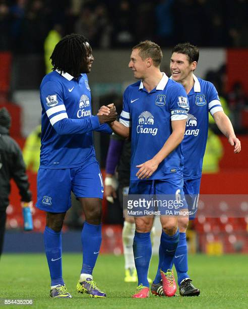 Everton's Romelu Lukaku and Everton's Phil Jagielka celebrate victory after the final whistle