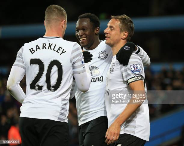 Everton's Romelu Lukaku celebrates scoring his side's second goal of the game against Aston Villa with Ross Barkley and Phil Jagielka
