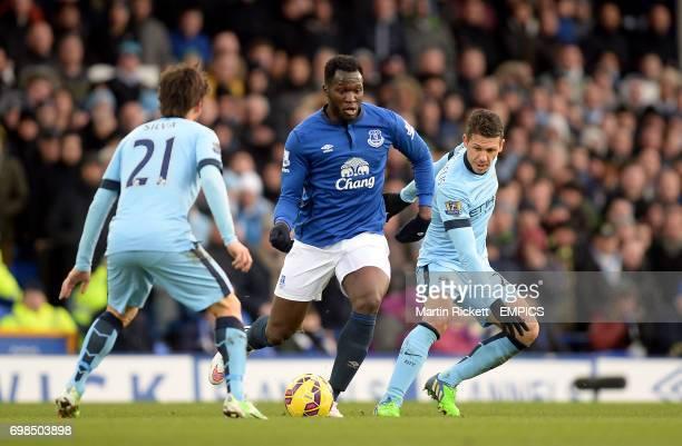 Everton's Romelu Lukaku gets away from Manchester City's Martin Demichelis