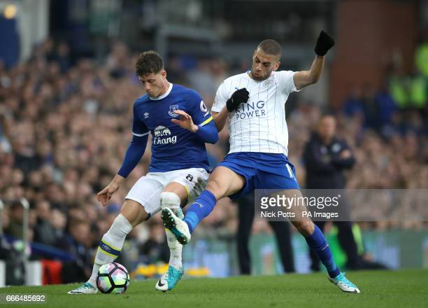 Everton's Ross Barkley and Leicester City's Islam Slimani battle for the ball during the Premier League match at Goodison Park Liverpool