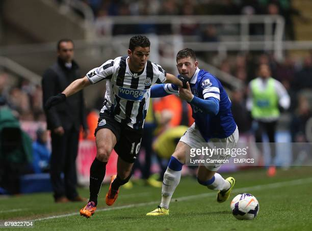 Everton's Ross Barkley and Newcastle United's Hatem Ben Arfa battle for the ball