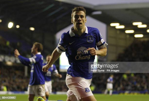 Everton's Seamus Coleman celebrates scoring his side's second goal of the game during the Barclays Premier League match at Goodison Park Liverpool